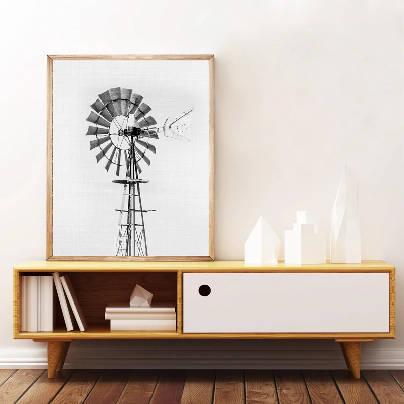 Vintage Windmill Black And White Minimalist Wall Art Fine Art Canvas Prints Posters For Farmhouse Kitchen Living Room Bedroom Modern Home Interior Decor