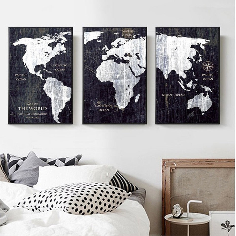 Vintage World Map Wall Art Fine Art Canvas Prints Black And White Posters For Living Room Bedroom Pictures For Home Office Interiors Wall Art Decor