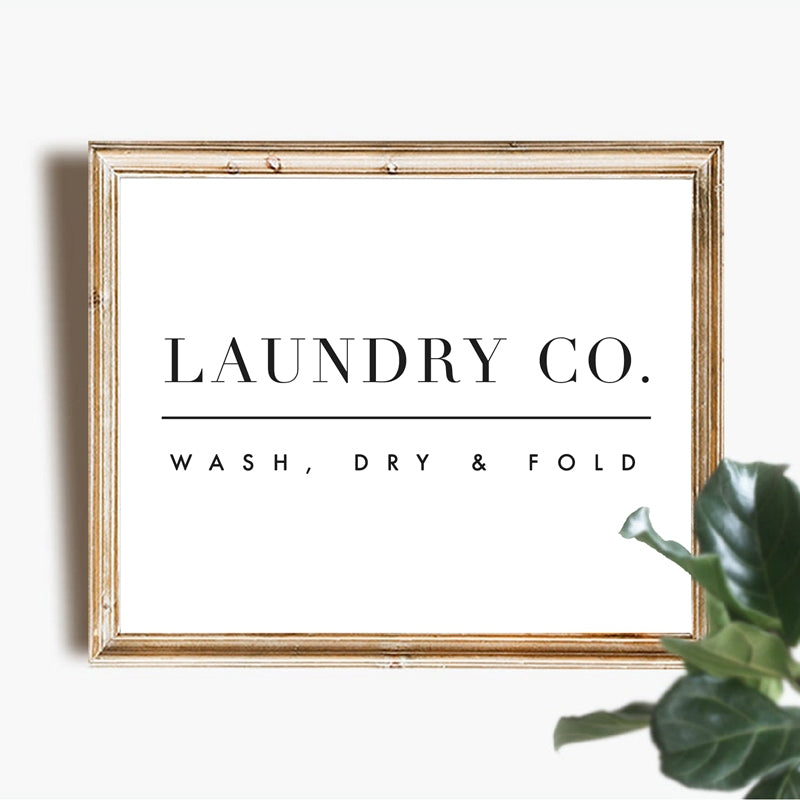 Wash Dry Fold Laundry Room Wall Art Simple Minimalist Fine Art Canvas Print Black White Typographic Poster For Utility Room Nordic Style Home Interior Decor