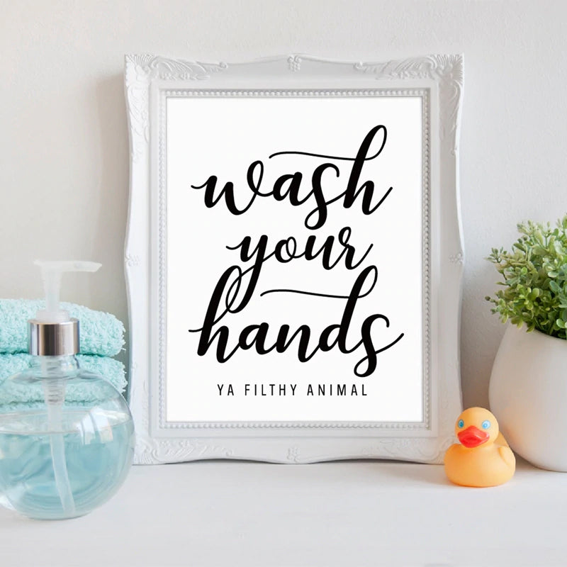 Wash Your Hands Quote Posters Motivational Wall Art Nordic Style Minimalist Typographic Black & White Posters Pictures For Kitchen Bathroom Wall Decor