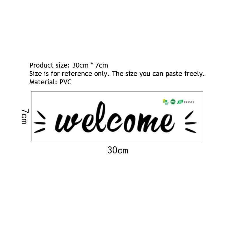 Welcome Sign Wall Decal For Living Room Removable Peel-and-stick PVC Vinyl Wall Sticker For Windows Door Signage Simple Creative DIY Home Interior Decor