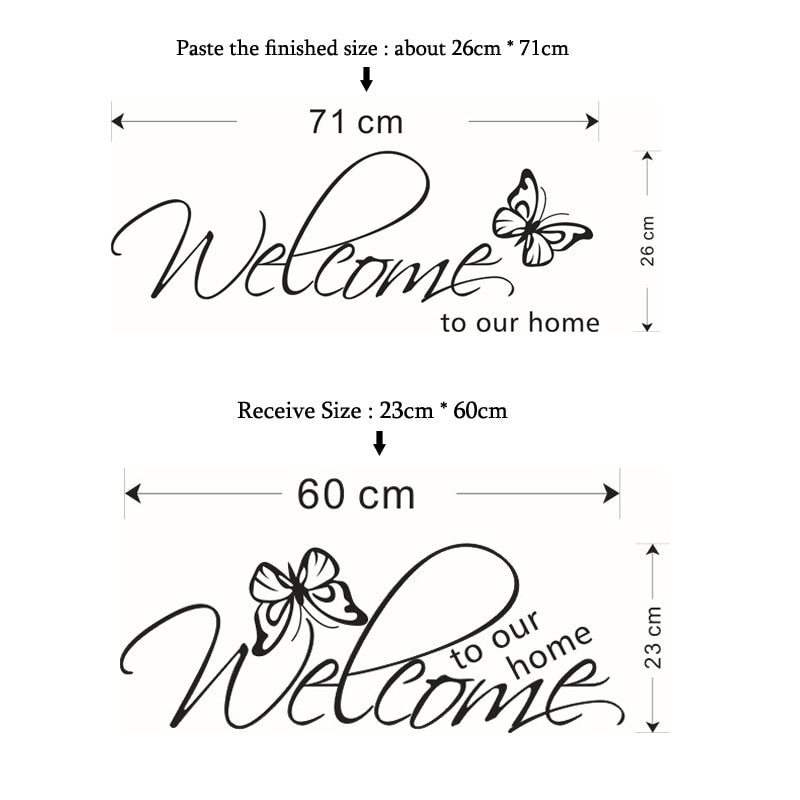 Welcoming Quote Wall Art Mural Removable PVC Vinyl Wall Decal For Living Room Dining Room Kitchen Entrance Hall Creative Simple Makeover DIY Home Decor