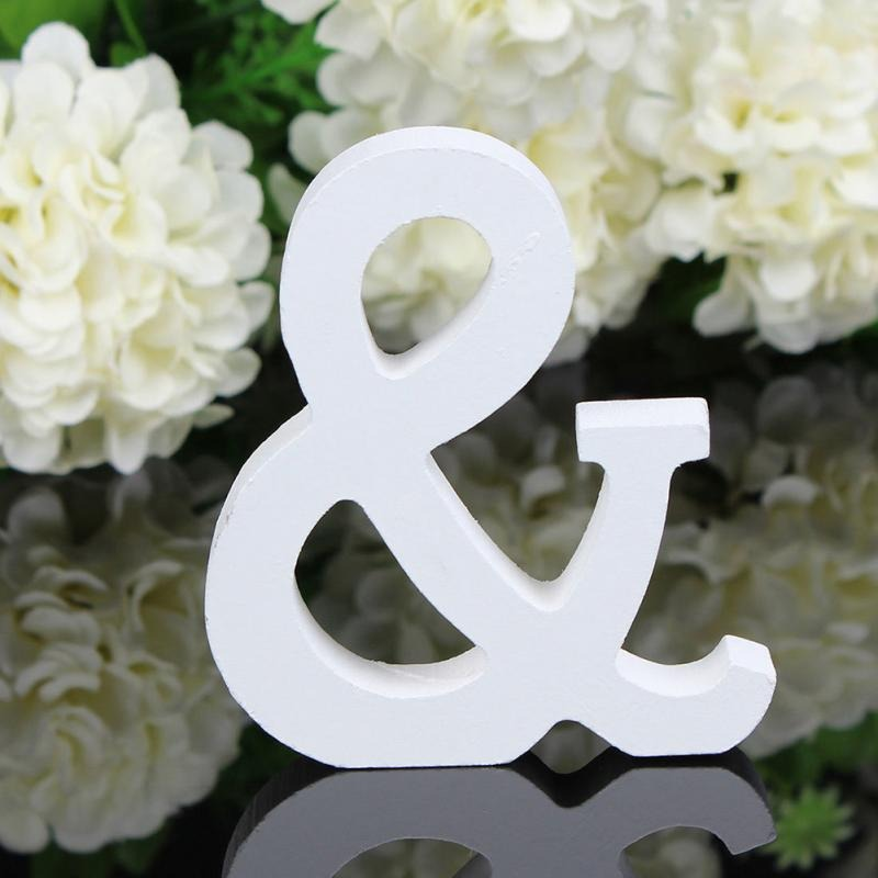 White Wooden Alphabet Letters For Tabletop Decoration Coffee Table Decor Free Standing Ornaments Wall Mounted Wooden Letters Nordic Home Decor