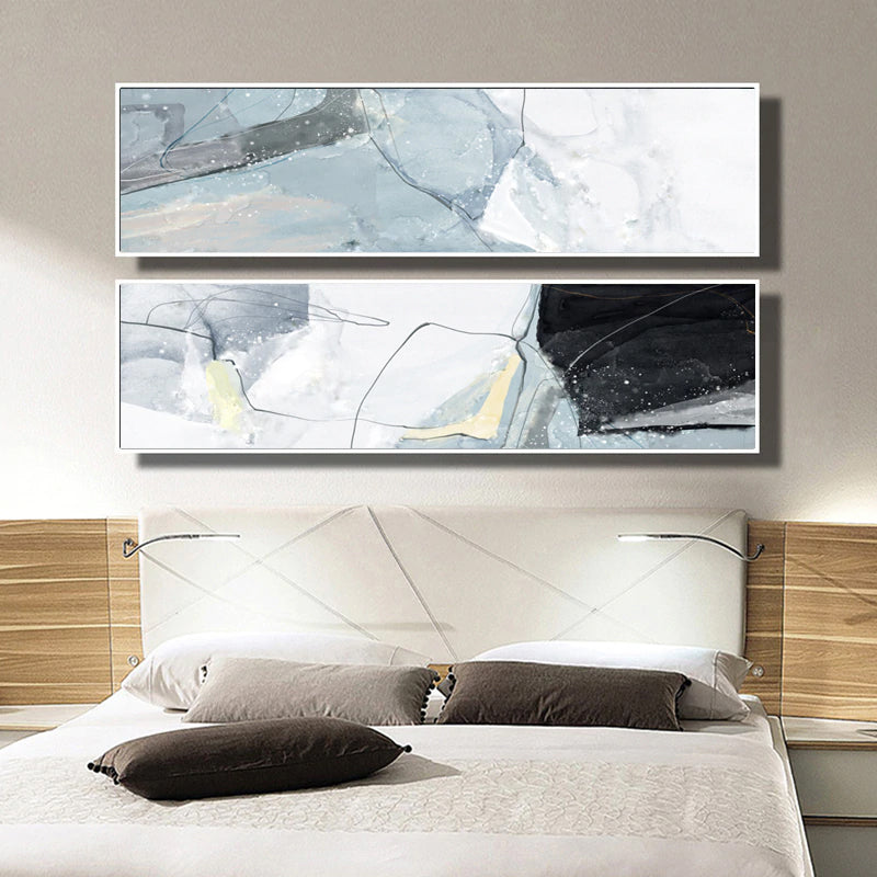 Wide Format Abstract Wall Art Marble Effect Gray Blue Black Fine Art Canvas Prints Pictures For Above Bed Bedroom Decor Modern Painting For Above Sofa