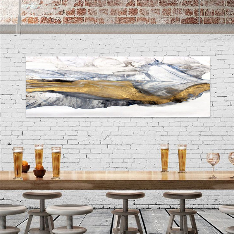 Wide Format Abstract Winter Landscape Golden White Gray Fine Art Canvas Prints Modern Panoramic Pictures For Living Room Bedroom Home Office Decor