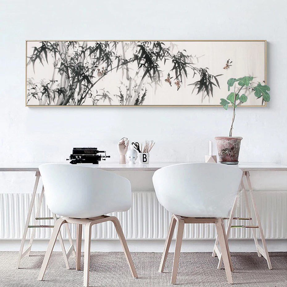 Widescreen Landscape Posters Trees Leaves Birds on Branch Fine Art Nordic Canvas Print Painting For Living Room Dining Room Home Decor