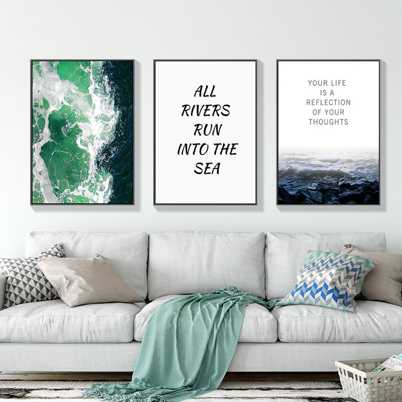 Wild Abstract Seascape Inspirational Quotes For Life Landscape Canvas Prints Nordic Wall Art Pictures For Office or Living Room Home Decor