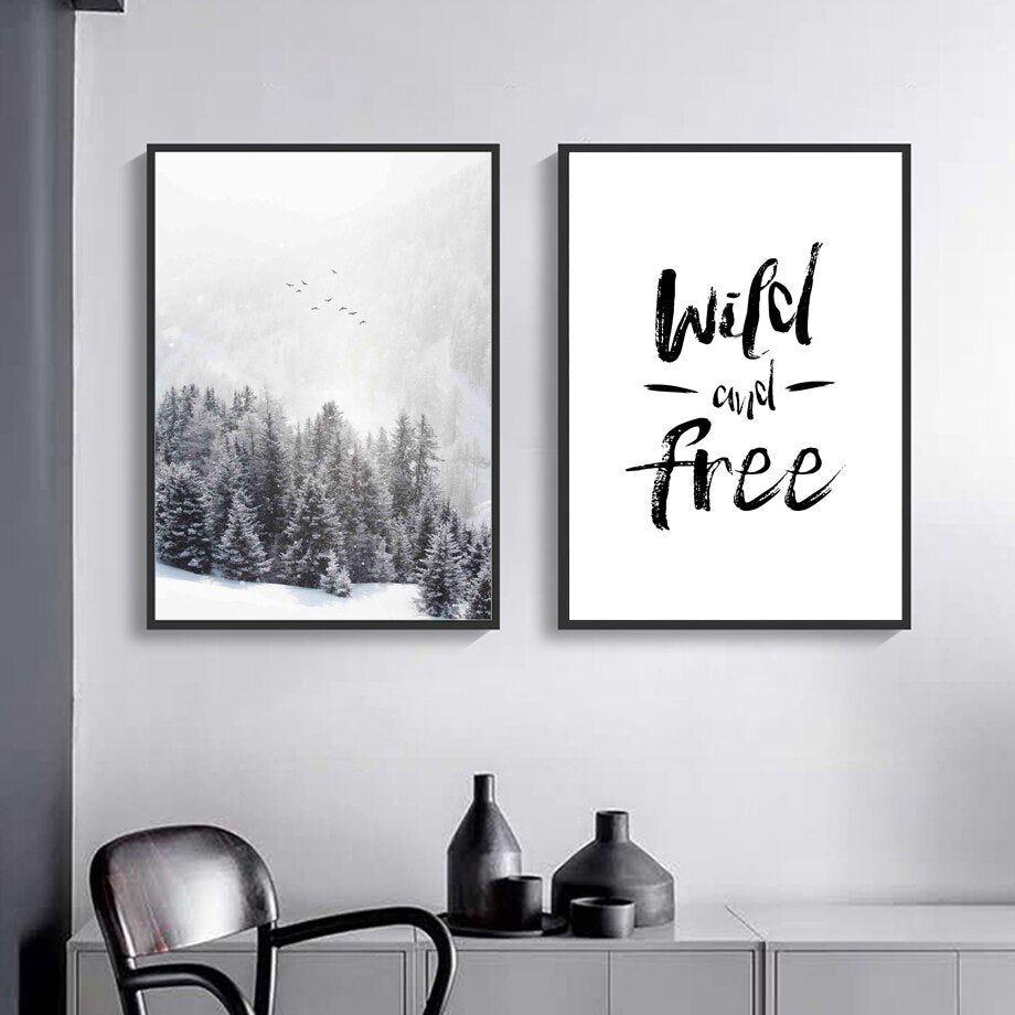 Wild And Free Inspirational Minimalist Nordic Gallery Wall Art Fine Art Canvas Prints Pictures For Living Room Dining Room Scandi Style Home Decor