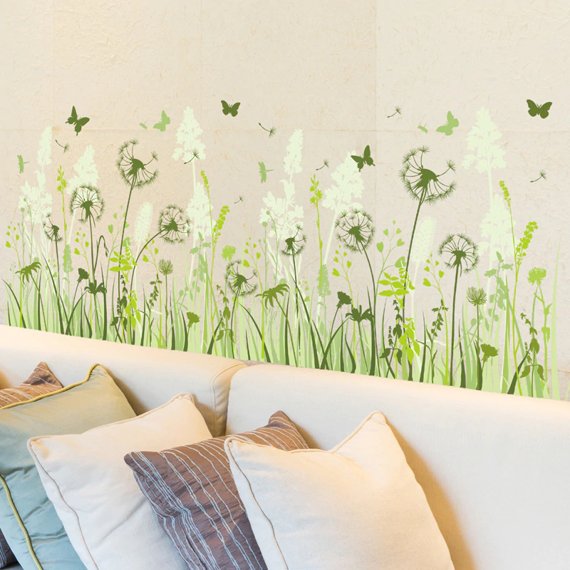 Wild Green Meadow Dandelions & Butterflies Wall Art Baseboard Mural Removable PVC Wall Decal For Living Room Games Room Nursery Decor