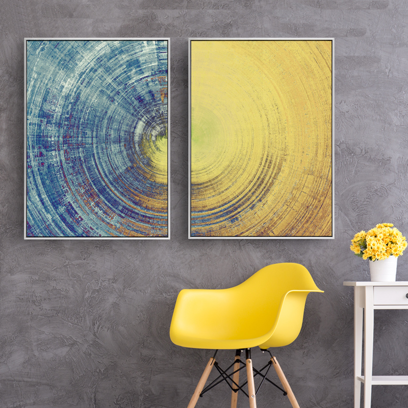 Yellow Meets Blue Contemporary Wall Art Fine Art Canvas Prints Abstract Circle Pictures For Office Interiors Living Room Modern Home Wall Art Decor
