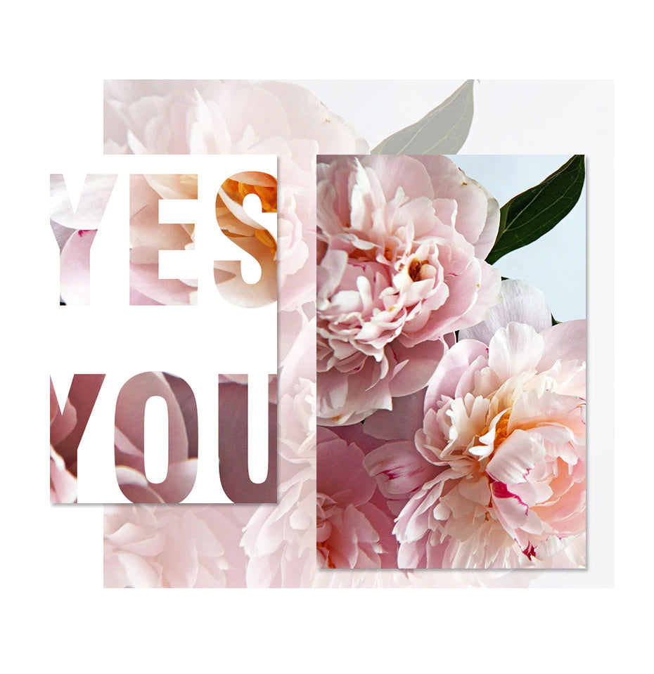 Yes You Can Modern Floral Motivation Quotation Wall Art Pink Peonies Fine Art Canvas Prints Modern Nordic Style Posters For Home Office Decor