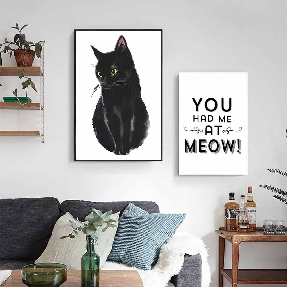 You Had Me At Meow Cute Black Cat Art Posters Black & White Fine Art Canvas Prints Nordic Style Kitchen Decor Animal Wall Art For Cat Lovers