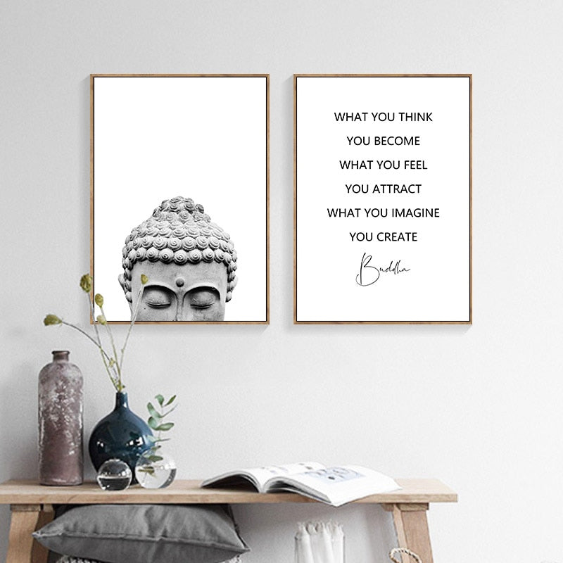 Zen Lifestyle Buddha Head Wall Art Fine Art Canvas Prints Minimalist Nordic Style Black White Living Room Bedroom Quotation Poster For Daily Inspiration