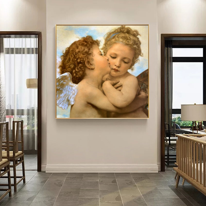 amous Painting Lamour and Psyche Classical Painting Wall Art Fine Art Canvas Prints Neoclassical Era Portrait Raw Canvas Picture For Living Room Bedroom Decor