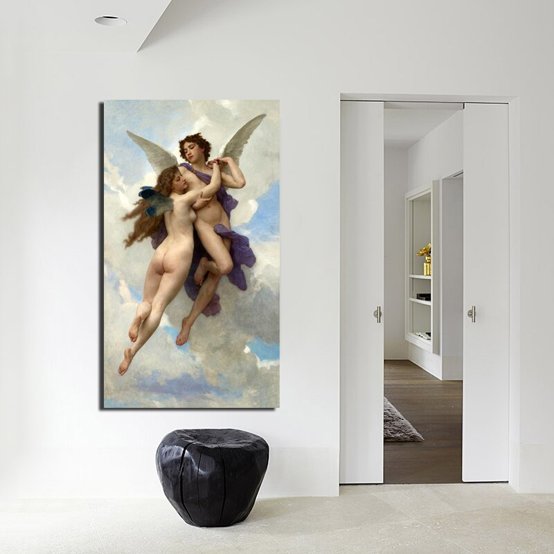 Famous Painting L'Amour et Psyche By William Bouguereau Fine Art Canvas Prints Classic Pictures For Living Room Dining Room Bedroom Art Decor