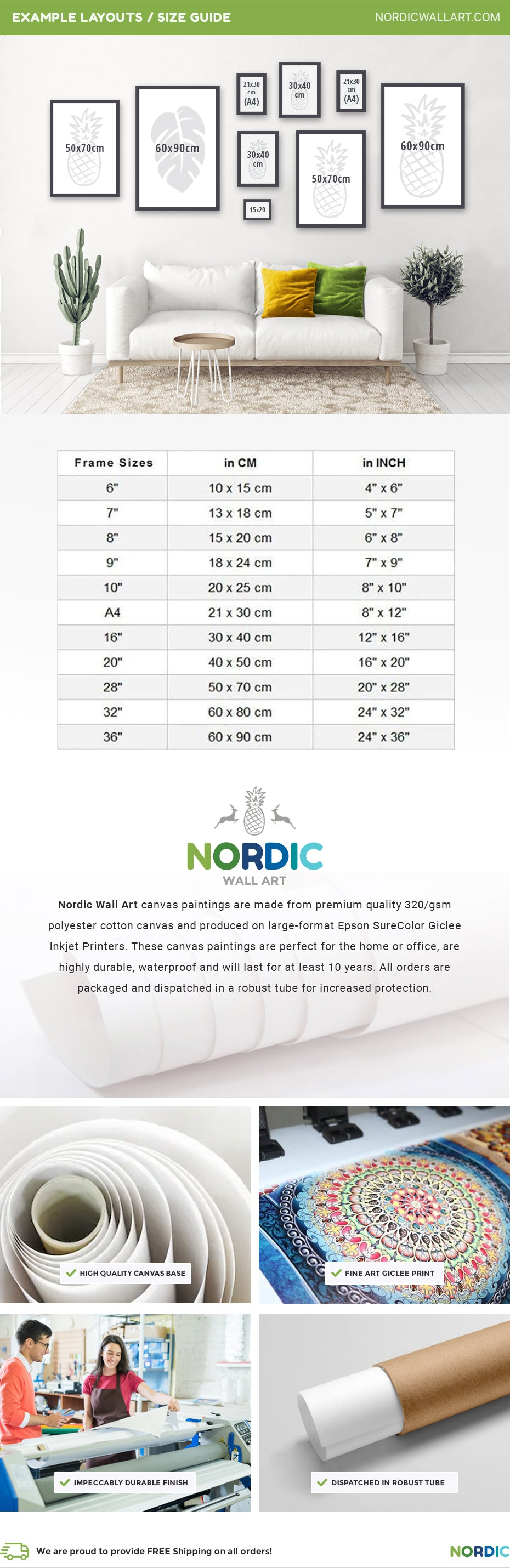 Nordic Wall Art canvas paintings are made from premium quality 320/gsm  polyester cotton canvas and produced on large-format Epson SureColor Giclee Inkjet Printers. These canvas paintings are perfect for the home or office, are highly durable, waterproof and will last for at least 10 years. All orders are packaged and dispatched in a robust tube for increased protection.