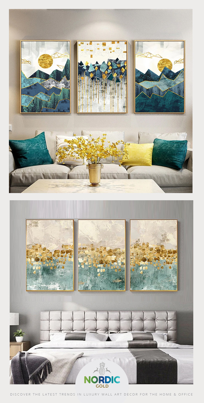 Luxury Nordic Gold - Contemporary Wall Art Decor