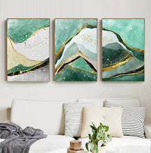 Load image into Gallery viewer, Modern Abstract Golden Green Marble Wall Art Contemporary Nordic Fine Art Canvas Prints For Office Or Home Living Room Wall Decoration
