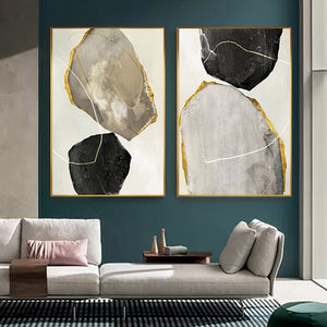 Abstract Golden Agate Gem Stones Luxury Nordic Wall Art Gray Black Yellow Fine Art Canvas Prints Pictures For Home Office Contemporary Interior Decor