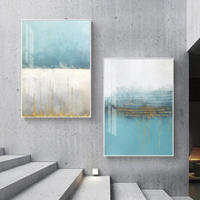 Load image into Gallery viewer, Abstract Golden Blue Horizons Contemporary Nordic Wall Art Fine Art Canvas Prints Modern Minimalist Grey White Pictures For Living Room Office Home Interiors