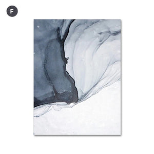 Abstract Blue Black Slate Grey Marble Wall Art Posters Fine Art Canvas Prints Modern Nordic Pictures For Kitchen Bathroom Modern Home Decor