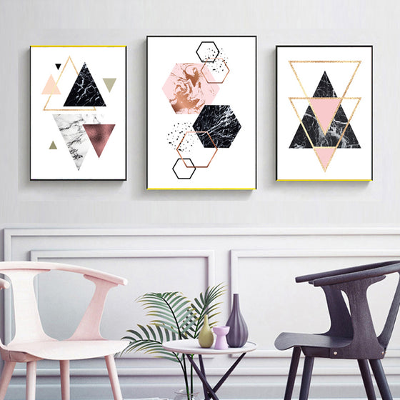 Abstract Geometric Minimalist Nordic Wall Art Posters Marble Gradients Texture Triangle Hexagon Fine Art Canvas Prints For Modern Interior Decor