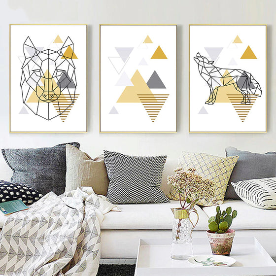 Abstract Geometric Nordic Wall Art Wild Forest Animals Fine Art Canvas Prints Golden Yellow Summer Tones Modern Minimalist Apartment Wall Art Decor
