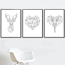 Load image into Gallery viewer, Abstract Geometric Wild Animals Nordic Style Black & White Minimalist Wall Art Fine Art Canvas Prints Posters For Living Room