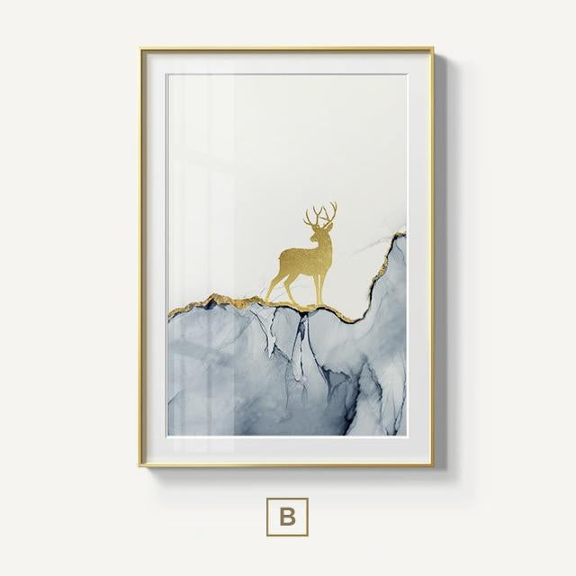 Abstract Golden Stag In Forest Wilderness Landscape Magical Nordic Wall Art Nordicwallart Com