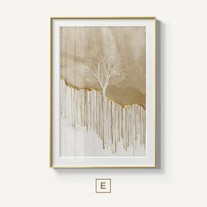 Golden Stag In Wilderness Forest Landscape Wall Art Magical Nordic Nature Fine Art Canvas Prints Painting For Modern Home Interior Decor