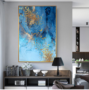 Golden Blue Sea Wall Art Fine Art Canvas Print Modern Abstract Marble Design Picture For Office Interior Living Room Luxury Art Decor