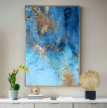 Load image into Gallery viewer, Golden Blue Sea Wall Art Fine Art Canvas Print Modern Abstract Marble Design Picture For Office Interior Living Room Luxury Art Decor