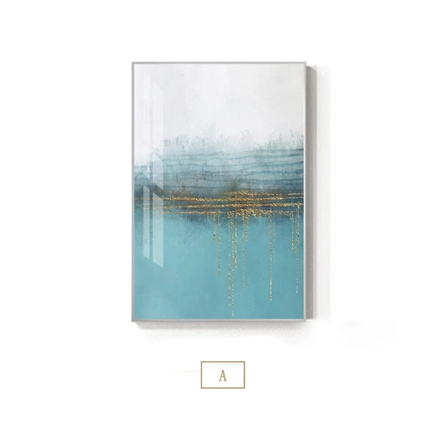 Abstract Golden Blue Horizons Contemporary Nordic Wall Art Fine Art Canvas Prints Modern Minimalist Grey White Pictures For Living Room Office Home Interiors