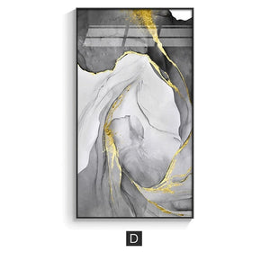 Abstract Marble Swirls Wall Art Golden Veins Blue Gray Marble Fine Art Canvas Prints Modern Stylish Pictures For Contemporary Living Luxury Home Decor