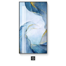 Load image into Gallery viewer, Abstract Marble Swirls Wall Art Golden Veins Blue Gray Marble Fine Art Canvas Prints Modern Stylish Pictures For Contemporary Living Luxury Home Decor