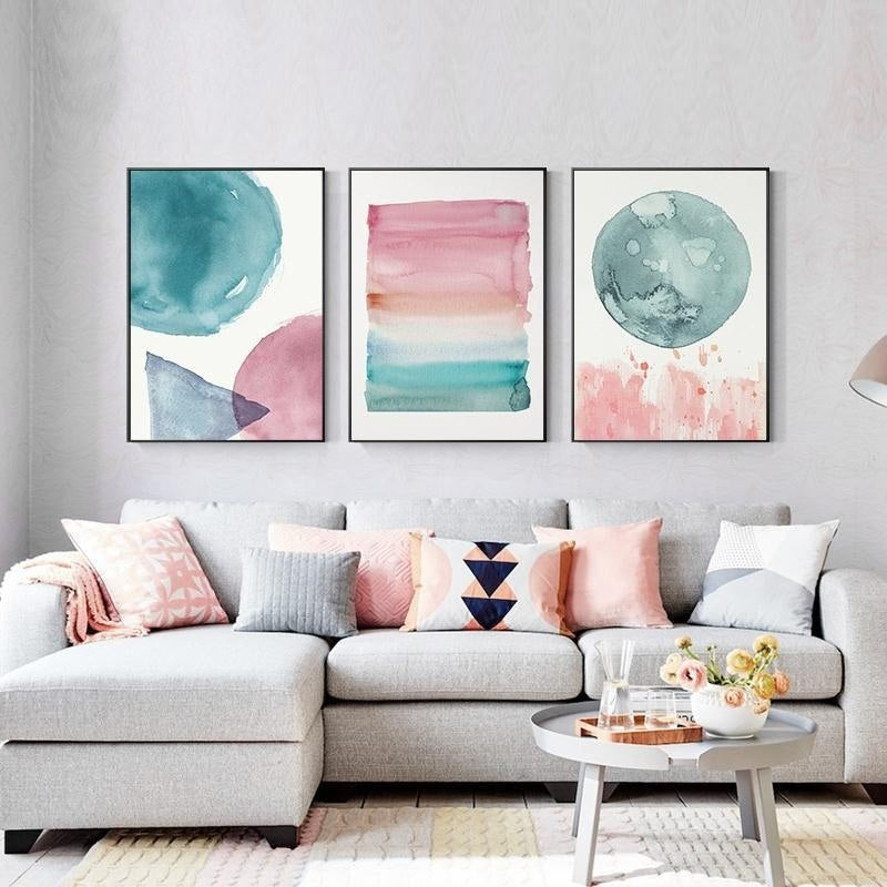 Abstract Nordic Watercolor Posters Pink And Blue Wall Art ... on Room Decor Posters id=63891