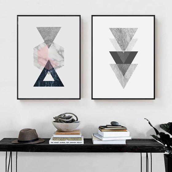 Abstract Vintage Nordic Geometric Wall Art Minimalist Marble Design Fine Art Canvas Prints Posters For Living Room Bedroom Home Decor