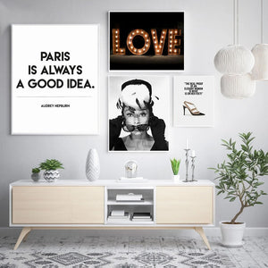 Audrey Hepburn Fashion Wall Art Posters Paris Is Always A Good Idea Quote Fine Art Canvas Prints Pictures For Girls Room Living Room Salon Wall Art Decor