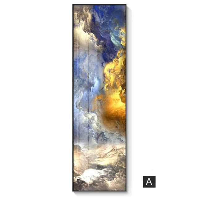 Auspicious Clouds Skyscape Wall Art Fine Art Canvas Prints Abstract Marble Modern Tall Vertical Skyscraper Format Pictures For Loft Home Office Wall Art Decor