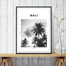 Load image into Gallery viewer, Bali Tropical Island Travel Poster Wall Art Palm Trees Holiday Goals Black And White Fine Art Canvas Print Simple Minimalist Modern Home Interior Decor