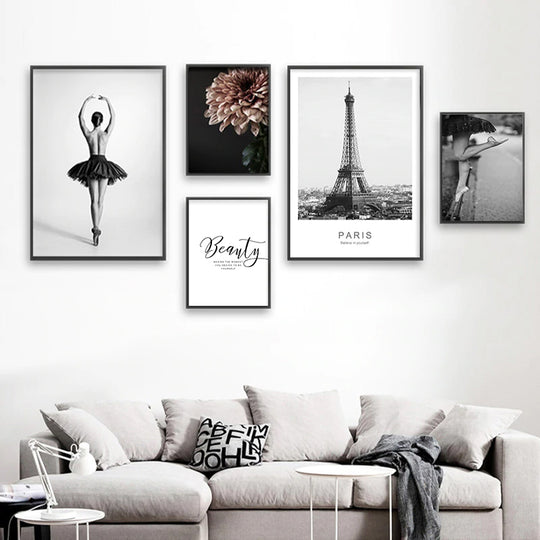 Ballet Girl Dancing Gallery Wall Art Stylish Minimalist Nordic Style Inspirational Quotation Floral Fine Art Canvas Prints Modern Home Decor