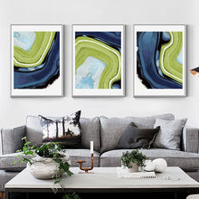 Load image into Gallery viewer, Beautiful Abstract Marble Wall Art Blue And Green Patterns Fine Art Canvas Prints Nordic Style Pictures For Living Room Bathroom Modern Home Decor