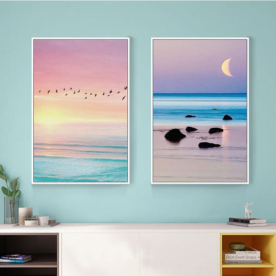 Beautiful Beach Sunset Sunrise Modern Seascape Art Canvas Painting Colorful Pink Blues Turquoise Tranquil Posters For Modern Home Decor