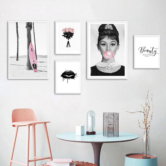 Beauty Begins The Moment You Decide To Be Yourself Audrey Hepburn Pink Bubblegum Fashion Nordic Gallery Wall Art Fine Art Canvas Prints