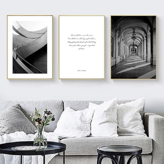 Black White Architectural Study Wall Art Ancient Church Arch Pathway Modern Abstract Structure Fine Art Canvas Prints For Modern Home Decor