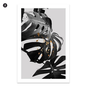 Black White Gold Tropical Leaves Do What You Love Minimalist Quotations Fine Art Canvas Prints Wall Art For Nordic Interior Style Home Decor