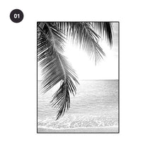 Load image into Gallery viewer, Black & White Palm Trees Wall Art Fine Art Canvas Prints Simple Minimalist Inspirational Landscape Tropical Travel Seascape Beach Scene Pictures For Living Room