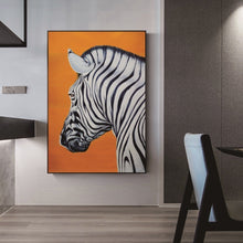 Load image into Gallery viewer, Stunning Zebra Print Wall Art Orange Background Fine Art Canvas Prints Nordic Style Minimalist Animal Paintings For Modern Home Decor