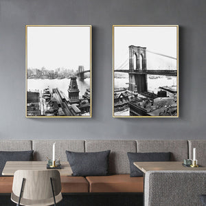 Brooklyn Bridge NYC Black & White Posters Modern Citsycape Wall Art Fine Art Canvas Prints For Office Home Living Room Interior Decor
