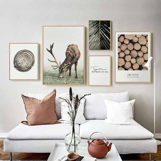 Classic Scandinavian Wall Art Fine Art Rustic Nordic Nature Tree Rings Deer Canvas Wood Prints Minimalist Pictures For Modern Country Home Decor